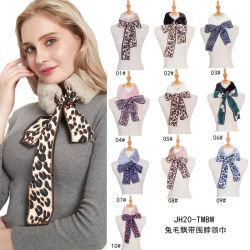 De Dames van vrouwen vormen Lange Sjaal van de Luipaard van het Bont van de Sjaal van het Bont van Faux Rex van het Lint van de Zijde de Warme