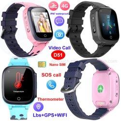 중국 공장 저렴한 4G IP67 방수 미니 온도계 안전 스마트 어린이 전용 GPS 추적기 및 체온 비디오 전화 D51
