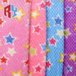 Fancy Estrella 100% poliéster pulido de tejidos de franela de impresión de lana tejido con acabado de Durazno