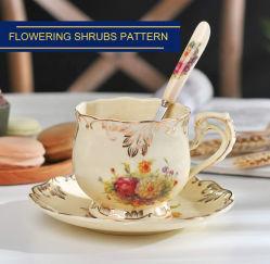 Kaffeetasse-Blumen-Drucken-Tee-Cup-Sets mit Löffel
