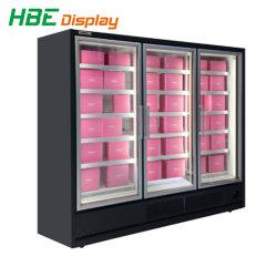 Del supermercato 3 dei portelli frigorifero commerciale di vetro della visualizzazione verticalmente