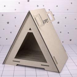 Triângulo Placa Wood-Plastic Cama Cat Cat House Casa Pet e cama Dog House