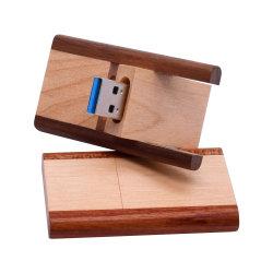 Logo populaire en vrac pivotant lecteur Flash USB en bois clair 64 Go de 128 Go