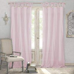 Rosa Inicio de las modas aplastado Semi-Sheer lazo ajustable Top panel único de Voile de algodón Nnatural mirada pura cortina de ventana de cortina