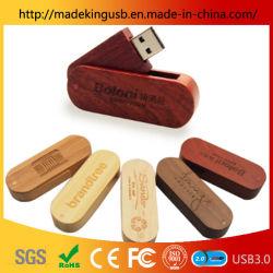 Logotipo gratuito de madeira, cartão de memória flash USB presente de Natal Pen Drive