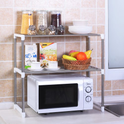 Cocina multifuncional plato metálico regulable de rack Almacenamiento horno de microondas
