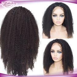 ブラジルのアフリカの女性のための巻き毛のレースの前部人間の毛髪のかつら