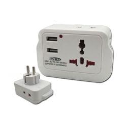 Zoccolo universale con l'adattatore bianco Port BRITANNICO dello zoccolo di corsa del USB e della spina