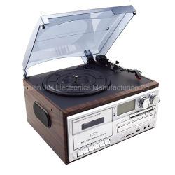 7-en-1 multifunciones tocadiscos Radio AM/FM Player Reproductor de CD y USB grabador de cassette Aux-in RCA line-out Bluetooth