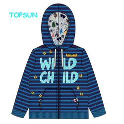 冬の縞の上着類のコートの男の子の印刷される長い袖の文字はフード付きジッパーのジャケットをからかう