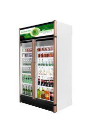 SKD Double porte en verre de boisson congélateur de réfrigération commerciale vitrine pour les supermarchés