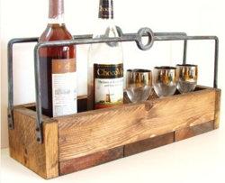 Amerikanische Art-rustikaler Metallholz-u. -eisen-Wein-Umhüllung-Sortierfach-Speicher 9002