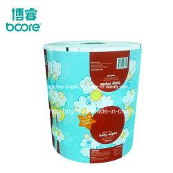 Bolsa de toalhetes em rolo plástico material de embalagem para pacote de tecido molhado