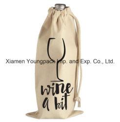 Рекламные Custom кулиской хлопок Canvas тканью вино мешок