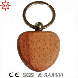 Werbegeschenke Großhandel Custom Logo Herz Geformt Blank Holz Schlüsselanhänger