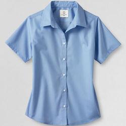 Mulheres de manga curta do colar de Camisa Broadcloth reta (WXW218)