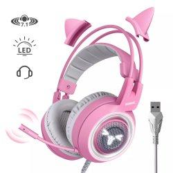 Somic G951 Jolie rose Cat Ear PC Gaming Headset Headphone Fiche USB pour ordinateur prennent en charge OEM