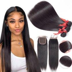 الجملة عالية الجودة سعر رخيصة طبيعية أسود الشعر البشرية تمديد حزم الشعر المستقيمة للنساء السود الفئة 9A