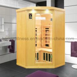 Bewegliche hölzerne Badezimmer-Möbel für Inneneckgebrauch, weites Infrarot-Sauna-Raum als hölzerne Protokoll-Kabine-Sauna-Abdeckung für Gesundheits-Schönheit