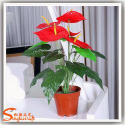 2018 L'usine de gros Anthura artificielle Plante en pot Bonsai Anthurium fleurs rouge pour la décoration