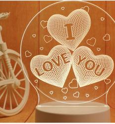 3D'Amour d'éclairage de nuit motif Illusion nuit cadeau décoration colorée de la lampe de feux de l'éclairage