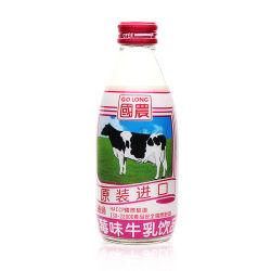 맛을 낸 우유 가공 공장의 완전한 세트