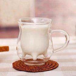 Factory Direct Heat-Resistant double couche de verre tasse de lait de petit-déjeuner pour les enfants
