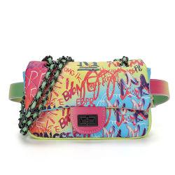 2020 Graffiti PU-lederne Modedesigner-Riemen-Fonds-neue Schulter Crossbody sackt Kettentaille Frauen-Handtaschen-Damen mit Verschluss ein