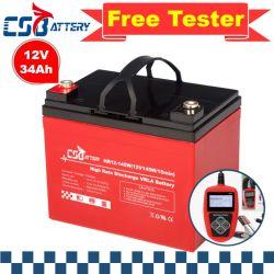 Csbattery 12V34Ah Backup энергии AGM аккумулятор для Bts-Stations/Emergency-Power/солнечной и ветровой - питание