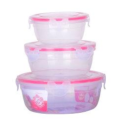 Container van het Voedsel van het Slot van de Vorm van de cilinder 3PCS de Kernachtigere Plastic