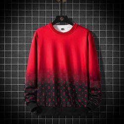 Homens Fashion impressas cores gradiente suéter/camisa longo pescoço da tripulação