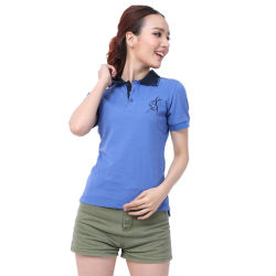 Brevi camice di polo femminili personalizzate di Lycra di colore solido delle camice della signora polo del manicotto