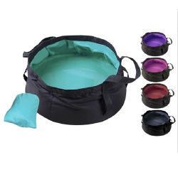 Portátil plegable plegable exterior cubo de agua cuenca de agua recipiente de agua para el senderismo Pesca Camping viajando
