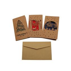 Cartoline di Natale allegre del taglio del laser di saluto di natale di natale della decorazione operata di disegno
