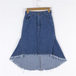 Les femmes Denim jupe courte avant retour long jupe en denim