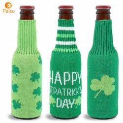 Spezieller warmer derorativer grüner gestrickter Weinflaschenbezug für St. Patrick's Day
