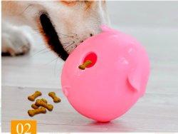 شامل أولى [لونش-سمرت] فينيل خنزير مراوح تردّد كلب متع كرة - لون قرنفل طبق