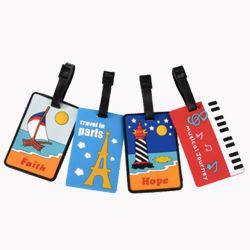 Kundenspezifisches Großhandelsfirmenzeichen personifizierte Arbeitsweg gedruckte silikon der PU-Beutel-Marken-3D Gummiplastikweiches Belüftung-Gepäck Identifikation-Namensgepäck-Marke für Förderung-Geschenk (YB-LT-4)