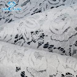 Comercio al por mayor de poliéster blanco lleno de fantasía de encaje tejido tejido Cable nupcial