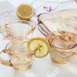 Commerce de gros Custom petites tasses de thé en verre résistant à la chaleur tasse à café définit avec poignée