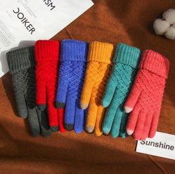 주문 한국 작풍 겨울 접촉 스크린 뜨개질을 하는 모직은 장갑을 데운다