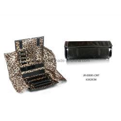 Schwarzes Leder mit Brown-Leopard-Futter-Schmucksache-Speicher-Beutel-Schmucksache-Rolle