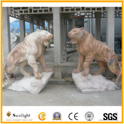 Anique Outdoor PinkかWhite/Grey/Yellow/Green Marble Stone Hand Carving Statue Tiger Sculpture
