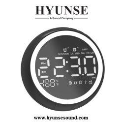 Relógio com alarme duplo Bluetooth de viagem com Rádio FM Digital Estéreo Colunas com ancoragem carregador USB Design redondo