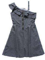Vestito in bianco e nero dalla fuori-Spalla della banda della ragazza di estate
