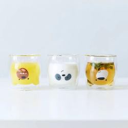 Noveltyhighのホウケイ酸塩の倍の壁のガラス動物の整形ガラスコップ
