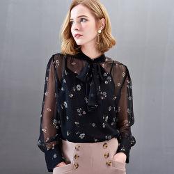새로운 숙녀 까만 인쇄 100% 실크 블라우스 또는 셔츠 의 의복을%s 주문을 받아서 만들어진 서비스