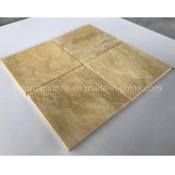 Tombado amarelo dourado para a parede de azulejos em mármore travertino e pavimentos