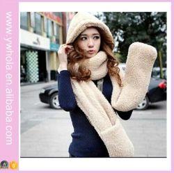 O novo cordeiros lã 3NO1 lenço de Inverno com capuz e luvas (66420)