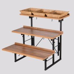 Розничный магазин супермаркет 3-Tier металлические складные деревянные фруктов и овощей на дисплее полок